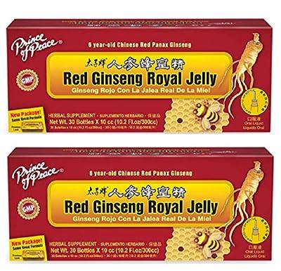 Red Ginseng Royal Jelly, Royal Jelly Ginseng, Prince of Peace Ginseng Royal Jelly Vials, Royal Red Ginseng Bottles, 0.34 oz per Vial, Box of 30 Vials, 2 Pack (60 Vials Total).