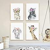 FUMOJI Cuadro de pared con animales, león, cebra, elefante, jirafa, figura con flores, lienzo para h...