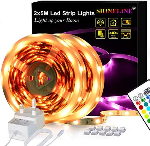 LED Strips Lights 5M, SHINELINE 16.4Ft RGB SMD 5050 Dimmer Led Strip Lights with Remote Mood Light for Home Kitchen Christmas Wedding Party DIY Decoration [Energy Class A+]