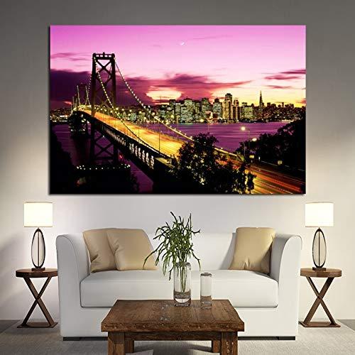 zhuziji DIY Pintar por números Puente de Brooklyn de Nueva York Puente de la Bahía de Oakland Pintura de Paisaje Pintura Sala de Estar Imagen Abstracta de la50x70cm(Sin Marco