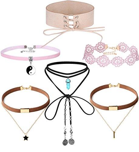 Tpocean 6pcs Vintage Velvet Leather Tattoo Lace Pink Choker Necklace Set Plus Size Lace Up Choker Set with Pendants for Women Girls Teens 90s Party Cute Choker Jewellry Set