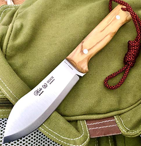NIETO - 1047-O. Cuchillo Miguel Nieto SIOUX NESSMUK. Mango de Olivo. Acero Inoxidable. Hoja 11,3 cm. Funda cuero. Herramienta para Caza, Pesca, Camping, Outdoor, Supervivencia y Bushcraft