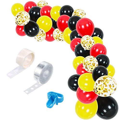 75 Pieces Balloon Garland Arch Kit, Balloons Garland Theme Decorations Red Yellow Black Confetti Balloons for Wedding Party, Baby Shower Birthday Party