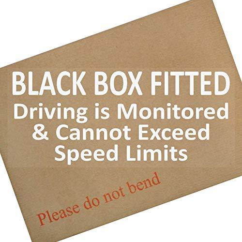 1 x 200x87mm Black Box gemonteerd, Rijden wordt bewaakt en kan niet overschrijden Snelheidslimieten-Raam, Auto, Van,Sticker,Teken, Vrachtwagen, Leraar, Nieuw, Pas, Plus,Verzekeringen, Snelheid, Limiet, Waarschuwing, Veiligheid, Gecontroleerd