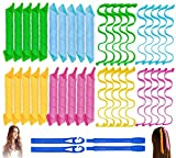 40PCS Hair Curlers Heatless Magic Hair Rollers Wave and Spiral Formers Two Styles(12inches) with 4PCS Styling Hooks Kit DIY Hair Curlers No Heat Damage for Most Hairstyles Short and Medium Hair