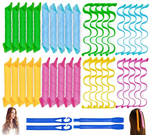 40PCS Hair Curlers Heatless Magic Hair Rollers Wave and Spiral Formers...