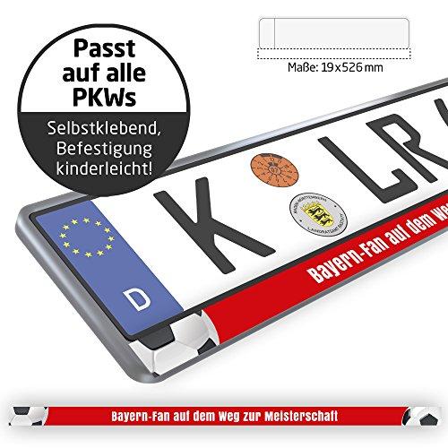 Bayern-Fan auf dem Weg zur Meisterschaft Design-Kennzeichenschild für FC-Bayern-Fans | Premium-Nummernschild für Dein Auto | 2 STK. Passt auf alle Kennzeichenhalter