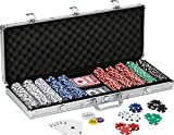 Fat Cat 11.5 Gram Texas Hold 'em Clay Poker Chip Set with Aluminum Case, 500 Striped Dice Chips