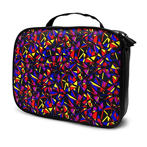 Abstract Seaml Pattern with Neon Makeup Bag Cosmetic Organizer Toiletry Beauty Case Travel Pouch