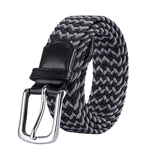AGEA Elastic Stretch Braided Waist Belt for Men Women (Black Gray, Waist 39'-41')