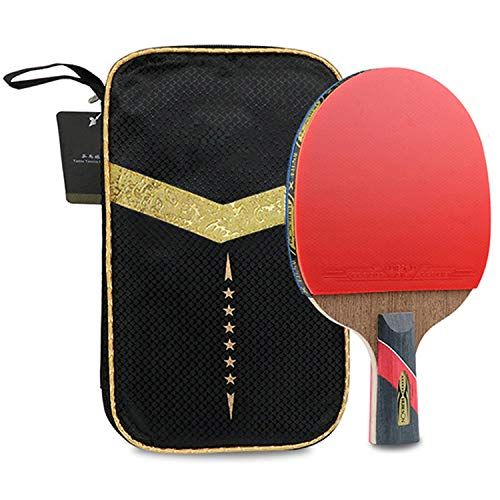 Ruixy Pro Carbon Performance-Level Table Tennis Racket Ping Pong Paddle with Carbon Technology for Tournament Play Rubber Spin Bat Racquet Bundle Portable Cover Case (6 Star Penhold Type)