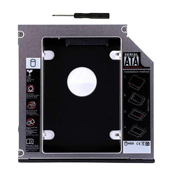 Gadget Deals Optical Bay 2nd Hard Drive Caddy, Universal for 9.5 mm CD/DVD Drive Slot (for SSD and HDD)