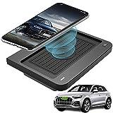 Cargador Inalámbrico Coche para Audi Q5 SQ5 2020 2019 2018 Consola Central Accesorios Panel, 10W Qi Carga Rápida 3 Bobinas Auto Teléfono Cargador para iPhone 11/XS/XR/X/8, Samsung S10/S9/S8