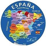Artimagen Alfombrilla, Mouse Pad Textil 100% Poliéster Mapa España Provincias ø 20 cm.