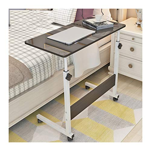 RKRXDH Laptop Stand Adjustable Overbed Rolling Table On Wheels Medical Hospital Home Use Mobile Cart Table Used For Bedside, Sofa, Dining Table overbed table (Color : Black walnut 80x40cm)