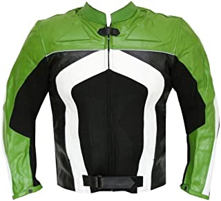 New Men's Razer Motorcycle Biker Armor Mesh & Leather Green Riding Jacket M