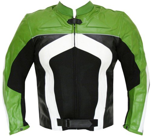 New Men's Razer Motorcycle Biker CE Armor Mesh Leather Green Riding Jacket L