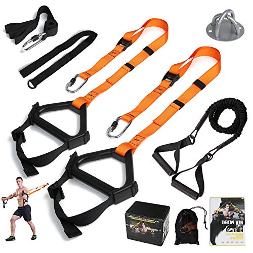MOULYAN Bodyweight Resistance Training Straps Complete Home Gym Fitness Trainer kit for Full-Body Workout Easy Setup Outdoors Gym Home