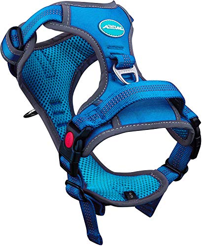 ThinkPet No Pull Harness Breathable Sport Harness with Handle-Dog Harnesses Reflective Adjustable for Medium Large Dogs,Back/Front Clip for Easy Control M Light Blue