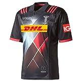 HYQ Jerseys de Rugby, Jersey de Rugby Harlequin, T-Shirts à col Rond Homme, Sports Shirts Shirts Tops à séchage Rapide,Noir,XL