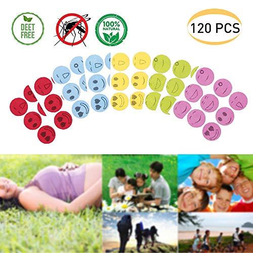 Flyglobal 120pcs Smiley Mückenschutz Aufkleber Ungiftig, Effektiv Anti Mücken Aufkleber Insektenabwehr Mückenschutz Pflaster Natürliche Formel Mückenabwehr Aufkleber für Baby Kinder Erwachsene