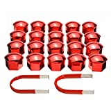 XYHCS 20pcs / Set Red Universal de 17mm Rueda Tapa Tuerca con 2 Herramienta de eliminación de Decoración Exterior Llantas Protección de Pernos