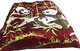 Weighted Heavy Plush Korean Style Mink Raschel Blanket for Winter, 1 Ply Super Silk Warm Plush Fleece Queen Size,Color Burgundy/White/Green (Panda)