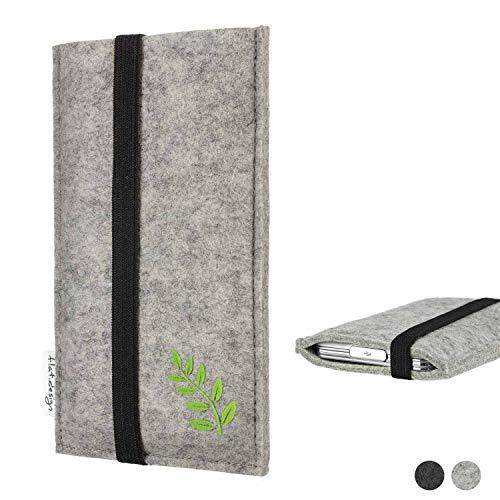flat.design Handy Hülle Coimbra für Shift Shift6m Made in Germany Handytasche Filz Tasche Case grün Blatt Blätter Natur