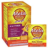 Metamucil On-the-Go, Psyllium Husk Fiber Supplement, 4-in-1 Fiber for Digestive Health, With Real Sugar, Orange Flavored, 30 packets (Pack of 2)