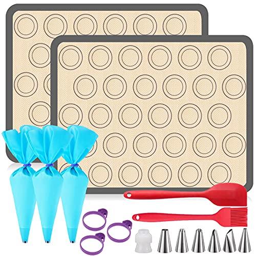 FINGER TEN Silikon Backmatte Macarons Kit Silikonmatte Backen Macaron Groß 42×29.5cm 2er Set BPA Frei Antihaft Wiederverwendbar Für Backofen Mikrowelle Backform Liner up to 260℃ (Grau,2er Set)