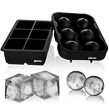 glacio Ice Cube Trays Silicone Combo Mold - Set of 2 Sphere Ice Ball Maker with Lid & Large Square Molds Reusable and BPA Free