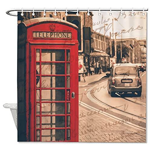 BYRON HOYLE Cortina de ducha para cabina de teléfono, estilo retro nostalgia, con anillos, tela de poliéster, cortinas de ducha con ganchos para decoración de baño, 178 x 172 cm