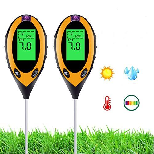 Bodentester, Parkarma Boden Feuchtigkeit Digital-pH-Meter Feuchtigkeitsmesser für Soil Tester Blumen/Gras/Pflanze/Garten/Bauernhof/Rasen/Innen/Außen (2 stück)