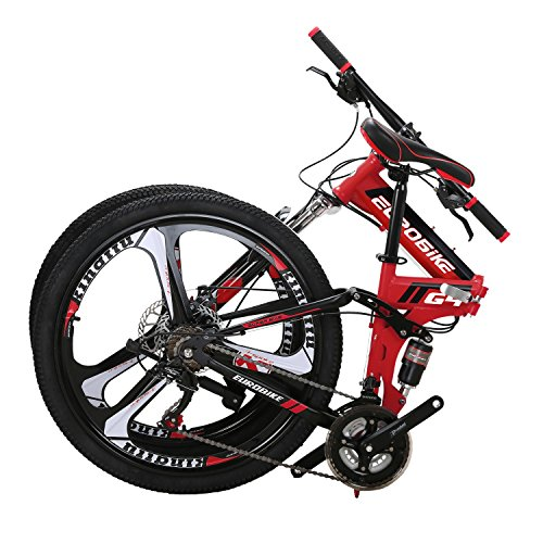 Eurobike G4 Mountain Bike 21 Speed Steel Frame 26 Inches Wheels Dual Suspension Folding Bike Red