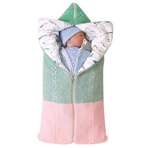 XingYue Direct pasgeboren baby Swaddle deken kinderwagen Wrap, verstelbare slaapmat dikke warme slaapzak slaapzak Eén maat Groen