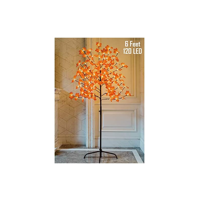 silk flower arrangements twinkle star lighted maple tree, 6 feet 120 led artificial tree with lights for thanksgiving harvest fall festival home party decoration