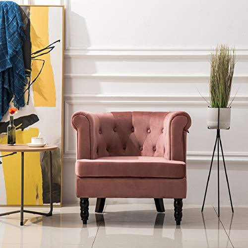 Warmiehomy Occasional Armchair Lovely Velvet Buttoned Upholstered Accent Chair Lounge Tub Chair with Solid Wood Legs for Living Room Bedroom Office Lounge Reception (Pink)