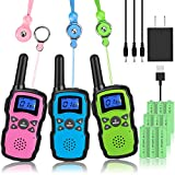 Wishouse Rechargeable Walkie Talkies for Kids with Charger 3X3000mAh Battery, Family Two Way Radio Adult Cruise Ship Long Range, Outdoor Camping Hiking Fun Toys Birthday Xmas Gift for Girl Boy 3 Pack