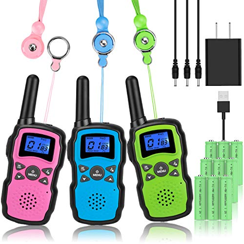 Wishouse Rechargeable Walkie Talkies for Kids with Charger 3X3000mAh Battery, Family 2 Way Radio Adult Cruise Ship Long Range, Outdoor Camping Hiking Fun Toys Birthday Xmas Gift for Girl Boy 3 Pack