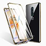 ZHIKE Oneplus 8 Case, Magnetic Adsorption Case Front and Back Tempered Glass Full Screen Coverage One-Piece Design Flip Cover for Oneplus 8 (Upgraded Version-Clear Gold)