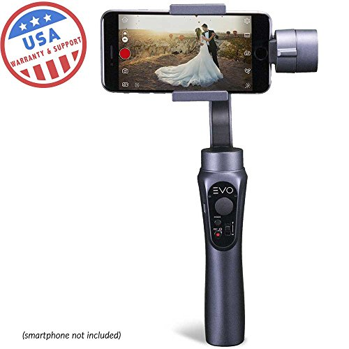 evo Shift 3 Axis Handheld Gimbal für iPhone & Android Smartphones – Intelligente App Kontrollen für Auto Zeitraffer Panoramen, Tracking + eingebauter Handy Aufladen – inkl. 1 Jahr Uns Garantie