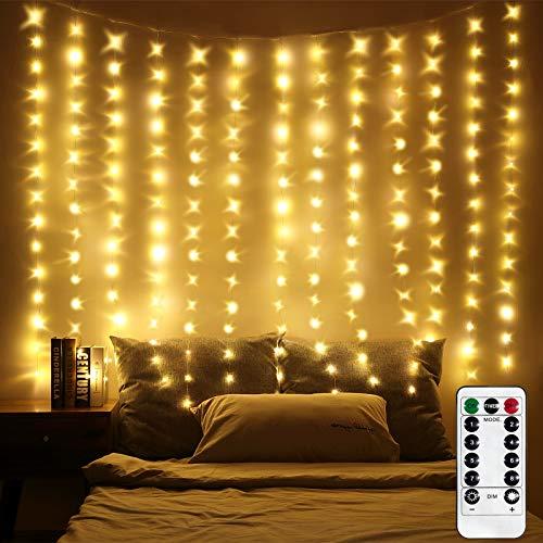 LED Fenster Vorhang Lichter, Foto Hintergrund Lichter Warmweiße Twinkle Lichterketten mit Fernbedienung für Hochzeitsfeier Schlafzimmer Wand Weihnachten Dekorationen 6,5 x 5 ft