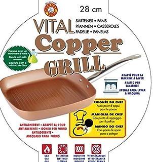 XSQUO Useful Tech Rebajase !! Sartén y Plancha Grill de 28 cm. Apta para inducción. Vital Copper Gourmet Tools
