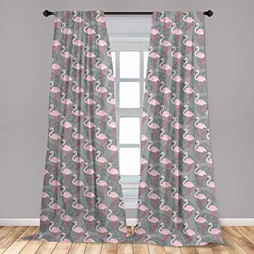 """Ambesonne Flamingo Window Curtains, Faded Island Jungle Tree Leaves Pink Birds Hawaii Wildlife Nature Inspirations, Lightweight Decorative Panels Set of 2 with Rod Pocket, 56"""" x 63"""", Grey Pink"""