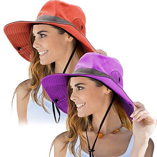 Norme 2 Stück Damen Outdoor Sonnenhut UV Schutz Faltbare Mesh Breite Krempe Strand Fischkappe (Lila, Orange)