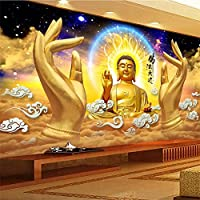 Ljjlm ダルマ無限の日黄金の仏像手ステレオ3D Hd背景壁画カスタム大壁画グリーン壁紙-120X100Cm
