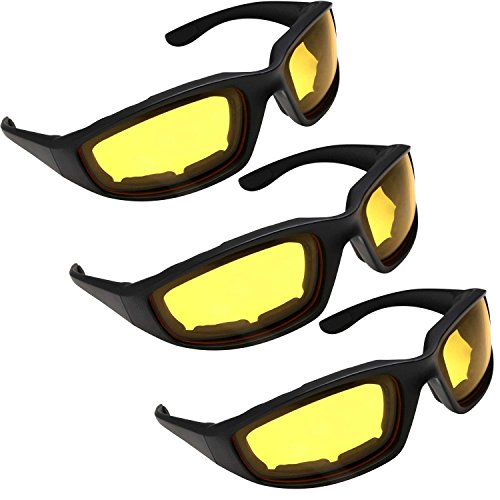 HiSurprise 3 Pair Motorcycle Riding Glasses Yellow