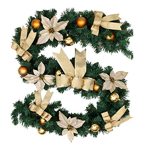 78Henstridge 180cm Weihnachtsgirlande Weihnachtsdeko Künstliche Tannengirlande Tannenzweiggirlande für Innen- und Außendekoration (Golden)