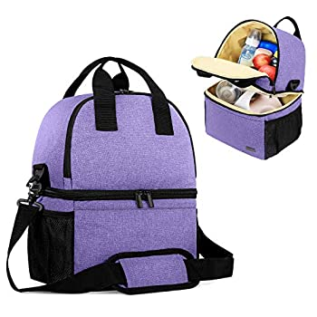 Teamoy Breast Pump Bag Tote with Cooler Compartment for Breast Pump Cooler Bag Breast Milk Bottles and More Double Layer Pumping Bag for Working Moms Purple Bag Only