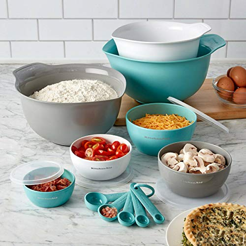 KitchenAid Baking Measure Mixing Bowl with Lid Spoons Set 12 Pieces - Blue